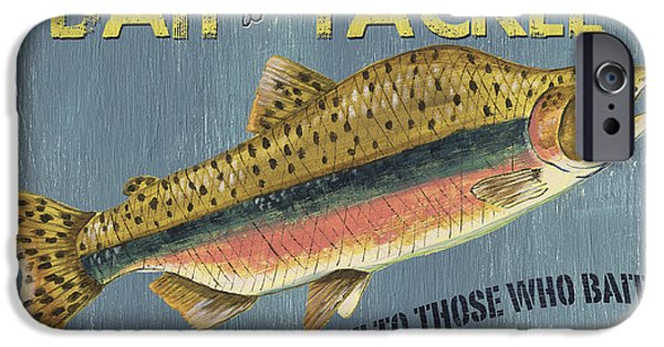 Graphic Design Paintings iPhone Cases - Sam Egans Bait and Tackle iPhone Case by Debbie DeWitt