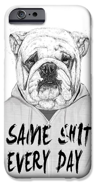 Dogs iPhone Cases - Same shit... iPhone Case by Balazs Solti