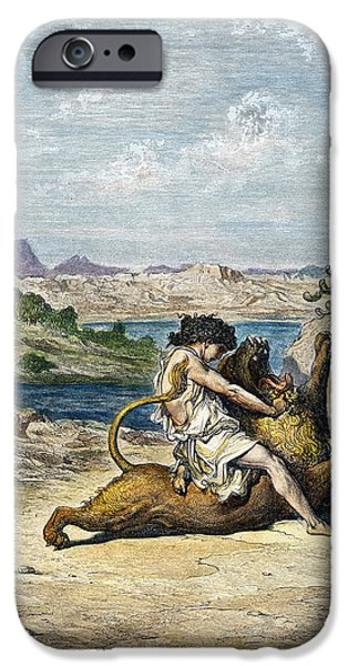 Wrestle iPhone Cases - Samson Slaying A Lion iPhone Case by Granger