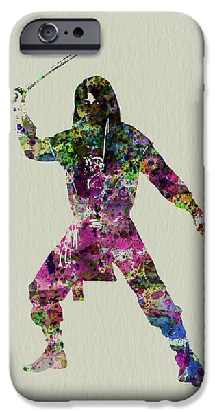 Costume iPhone Cases - Samurai with a sword iPhone Case by Naxart Studio