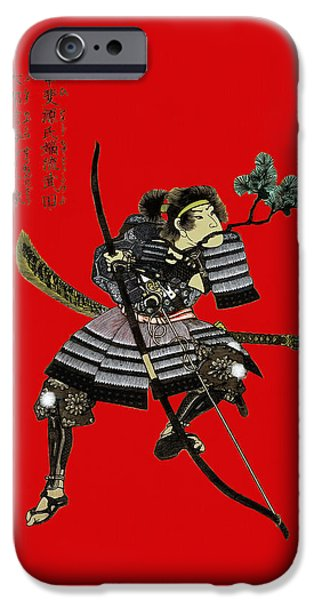 Weapon iPhone Cases - Samurai with bow iPhone Case by Sergey Lukashin