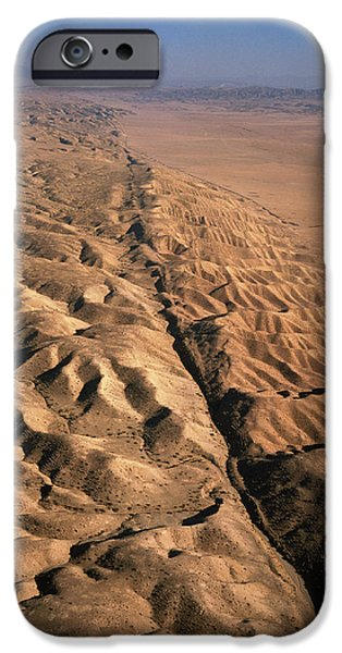 Fault iPhone Cases - San Andreas Fault, Aerial View iPhone Case by David Parker