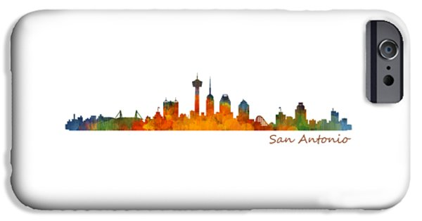 Bullis iPhone Cases - San Antonio City Skyline Hq v1 iPhone Case by HQ Photo