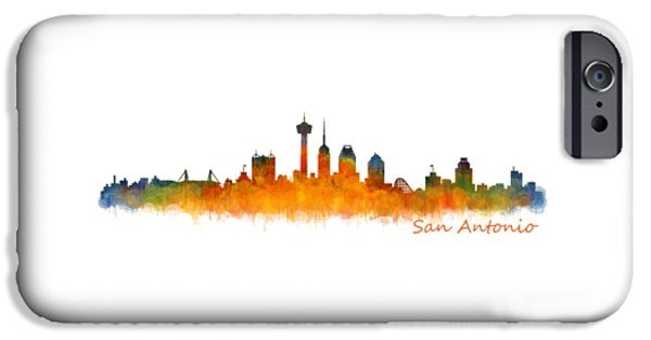 Bullis iPhone Cases - San Antonio City Skyline Hq v2 iPhone Case by HQ Photo