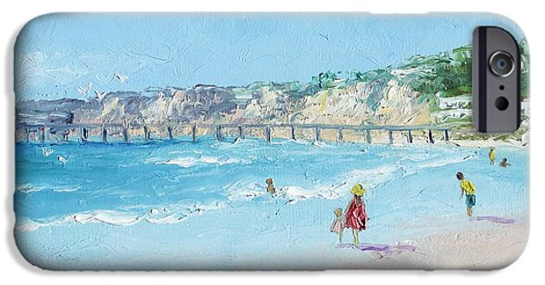 Park Scene Paintings iPhone Cases - San Diego Pier iPhone Case by Jan Matson