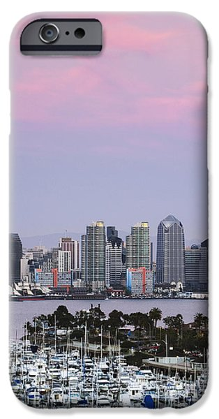 Office Space Photographs iPhone Cases - San Diego Skyline and Marina at Dusk iPhone Case by Jeremy Woodhouse