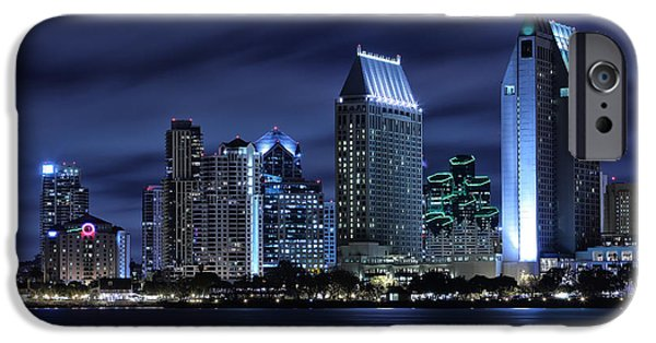 City Lights iPhone Cases - San Diego Skyline at Night iPhone Case by Larry Marshall