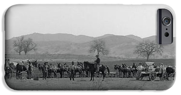 The Horse iPhone Cases - San Fernando Valley Wheat Planting  1900 iPhone Case by Daniel Hagerman