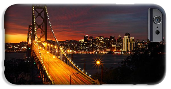 Bay Bridge iPhone Cases - San Francisco Bay Bridge at sunset iPhone Case by Pierre Leclerc Photography