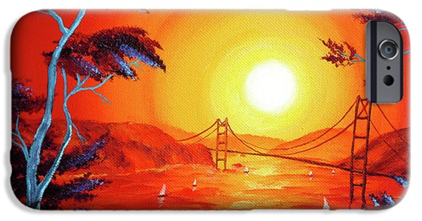 Lincoln iPhone Cases - San Francisco Bay in Bright Sunset iPhone Case by Laura Iverson