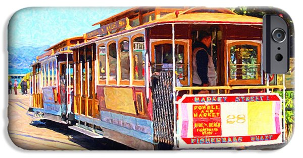 Wing Tong Digital iPhone Cases - San Francisco Cablecar At Fishermans Wharf . 7D14097 iPhone Case by Wingsdomain Art and Photography