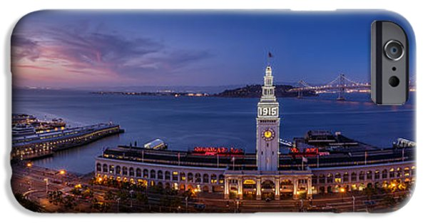 Bay Bridge iPhone Cases - San Francisco Ferry Building and Bay Bridge iPhone Case by Engel Ching