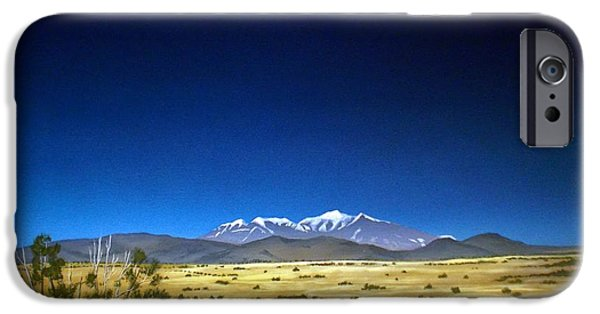 Pinion Paintings iPhone Cases - San Francisco Peaks iPhone Case by Jerry Bokowski
