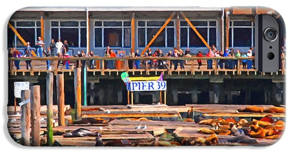 Bay Area Digital iPhone Cases - San Francisco Pier 39 Sea Lions . 7D14272 iPhone Case by Wingsdomain Art and Photography