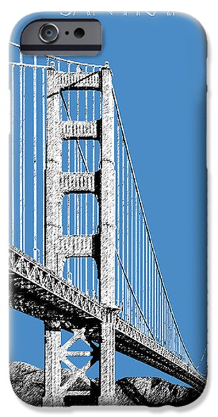 Architecture Digital iPhone Cases - San Francisco Skyline Golden Gate Bridge 2 - Slate Blue iPhone Case by DB Artist