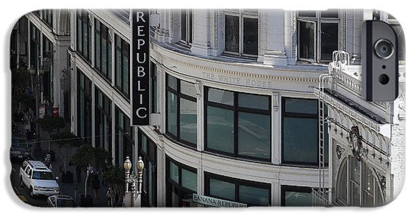 White House iPhone Cases - San Francisco Sutter Street East View 7D7509 square iPhone Case by Wingsdomain Art and Photography