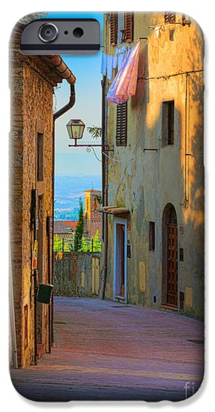 House iPhone Cases - San Gimignano Alley iPhone Case by Inge Johnsson