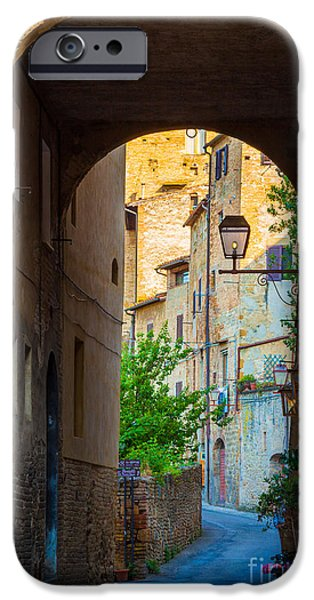 House iPhone Cases - San Gimignano Archway iPhone Case by Inge Johnsson