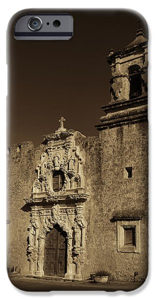 Stone Carving iPhone Cases - San Jose - Sepia iPhone Case by Stephen Stookey