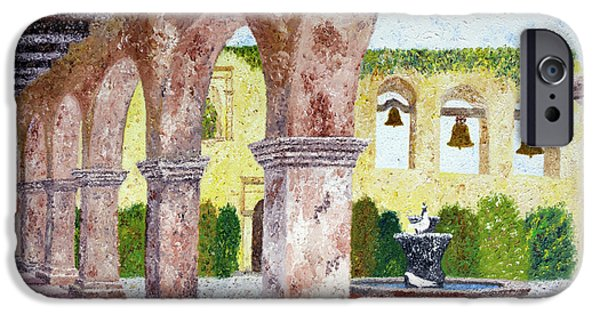 Mission iPhone Cases - San Juan Capistrano Courtyard iPhone Case by Laura Iverson