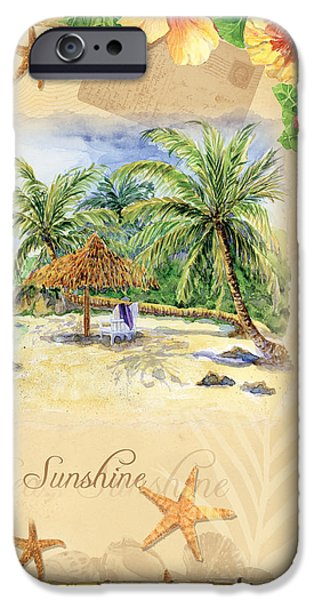 Beach Cottage Style iPhone Cases - Sand Sea Sunshine on Tropical Beach Shores iPhone Case by Audrey Jeanne Roberts