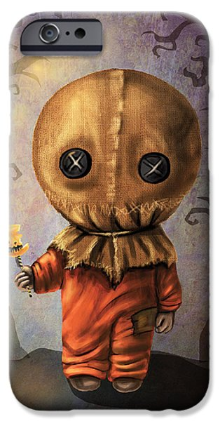 Recently Sold -  - Creepy iPhone Cases - Sam Trick R Treat iPhone Case by Diana Levin