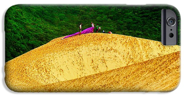 People Tapestries - Textiles iPhone Cases - Sand Dune Fun iPhone Case by James Hennis