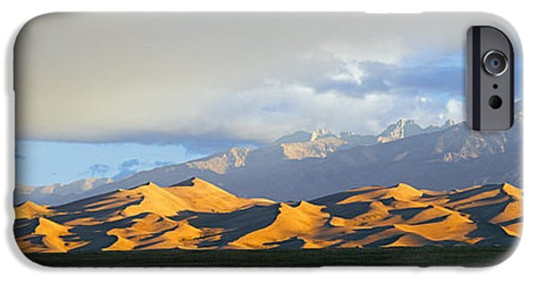 Mounds iPhone Cases - Sand Dunes In A Desert With A Mountain iPhone Case by Panoramic Images