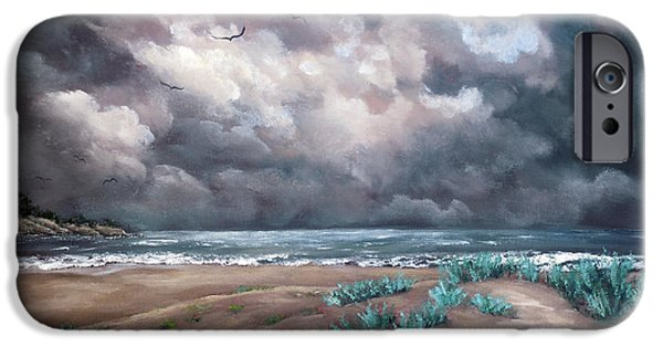 Dunes Paintings iPhone Cases - Sand Dunes Under Darkening Skies iPhone Case by Laura Iverson