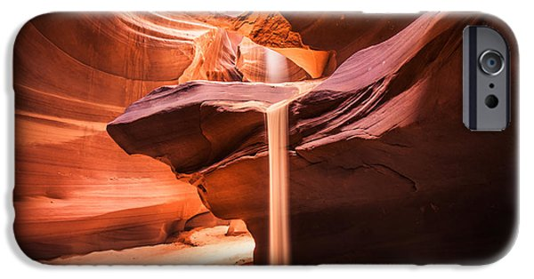 Stone Carving iPhone Cases - Sand Falls in Antelope Canyon iPhone Case by Jim DeLillo