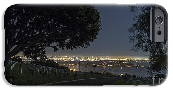 Cemetary iPhone Cases - #SanDiego From Fort Rosecrans At Night #Photography iPhone Case by Ben Cipollini