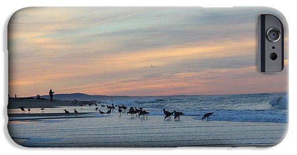 Ocean Sunset iPhone Cases - Sandpiper Sunset iPhone Case by Larry  Daeumler