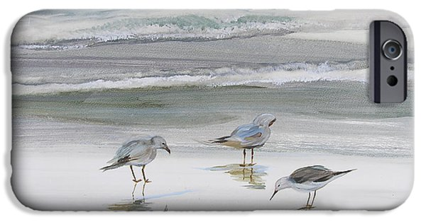 On Paper Paintings iPhone Cases - Sandpipers iPhone Case by Julianne Felton