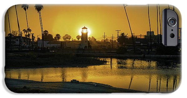 Ocean Sunset iPhone Cases - Santa Barbara Lighthouse Sunset iPhone Case by Lynn Bauer