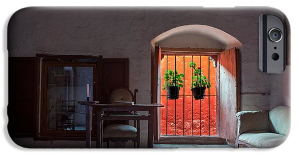 Catherine White Photographs iPhone Cases - Santa Catalina Monastery Window iPhone Case by Jess Kraft