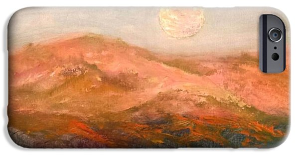 Moonscape iPhone Cases - Santa Clara Harvest Moon iPhone Case by Janet Carlen