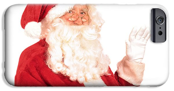Father Christmas iPhone Cases - Santa Claus Waving Hand iPhone Case by Amanda And Christopher Elwell