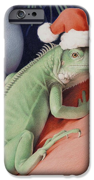 Santa Drawings iPhone Cases - Santa Claws - Bob the Lizard iPhone Case by Amy S Turner