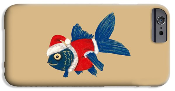 Strange iPhone Cases - Santa Fish iPhone Case by Anastasiya Malakhova