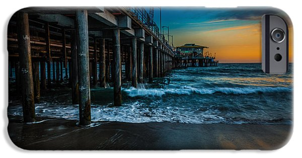 Santa Pyrography iPhone Cases - Santa Monica Pier at Sunset iPhone Case by Rick Strobaugh