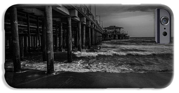 Santa Pyrography iPhone Cases - Santa Monica Pier BW iPhone Case by Rick Strobaugh