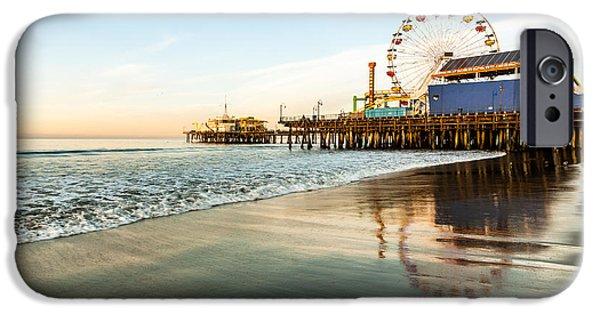 Recently Sold -  - Santa iPhone Cases - Santa Monica Pier Sunrise iPhone Case by Josh Whalen