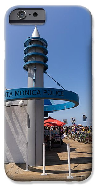 Police Officer iPhone Cases - Santa Monica Police at Santa Monica Pier in Santa Monica California DSC3675 iPhone Case by Wingsdomain Art and Photography