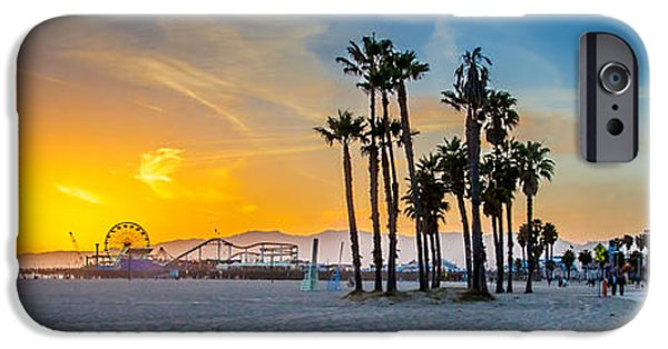 Amusements iPhone Cases - Santa Monica Sunset iPhone Case by Az Jackson