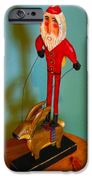 Christmas Sculptures iPhone Cases - Santa Riding Reindeer iPhone Case by James Neill
