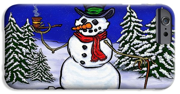 Winter Scene Pastels iPhone Cases - Santas On His Way iPhone Case by Frank Warsinski