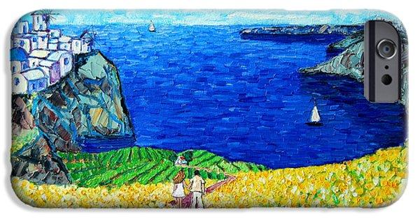 Couple iPhone Cases - Santorini Honeymoon iPhone Case by Ana Maria Edulescu