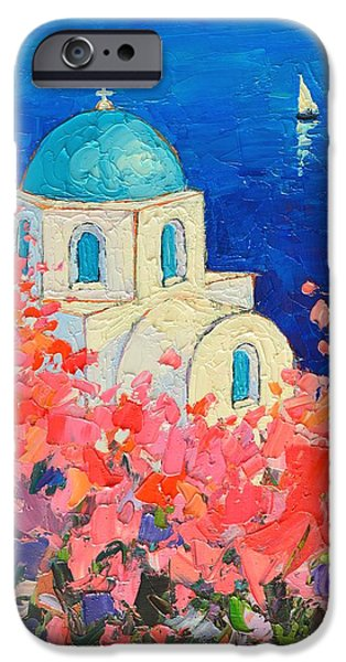 Recently Sold -  - Abstract Expressionist iPhone Cases - Santorini Impression - Full Bloom In Santorini Greece iPhone Case by Ana Maria Edulescu