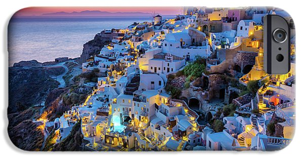 Greek Icon iPhone Cases - Santorini Sunset iPhone Case by Inge Johnsson