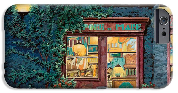 Cafes Paintings iPhone Cases - Sapore Di Mare iPhone Case by Guido Borelli
